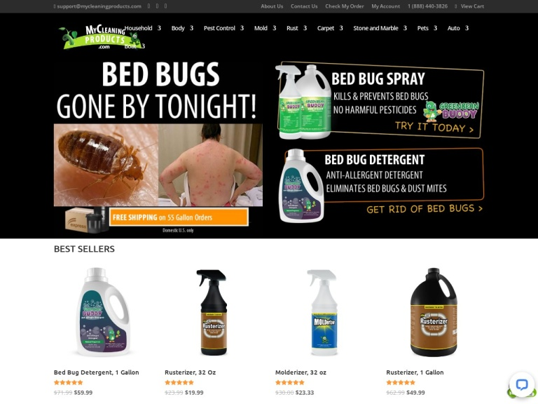 MyCleaningProducts.com screenshot
