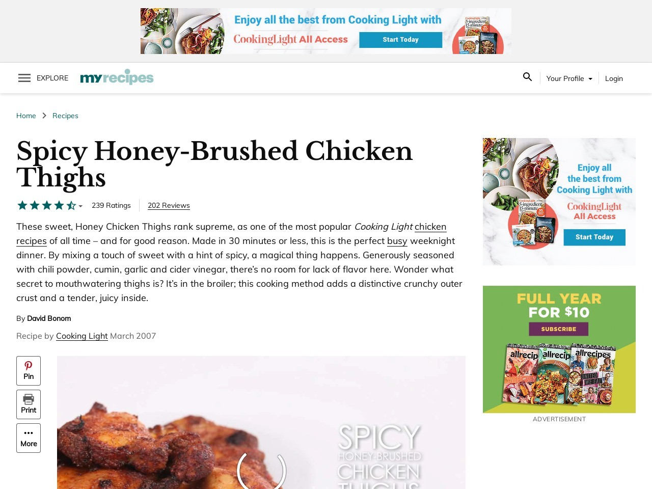 Spicy Honey-Brushed Chicken Thighs Recipe | MyRecipes …