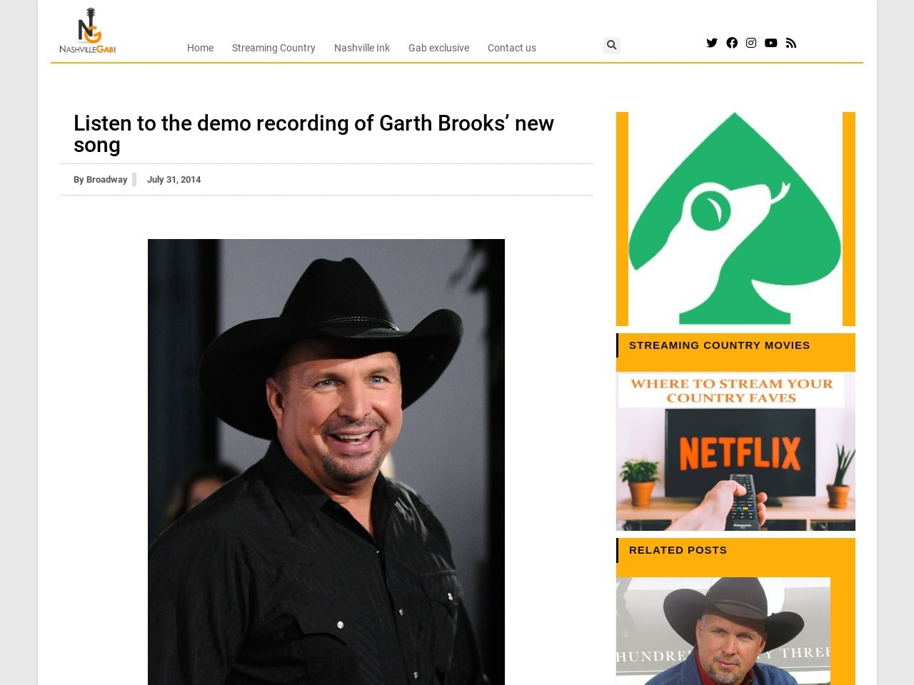 Listen to the demo recording of Garth Brooks' new song …