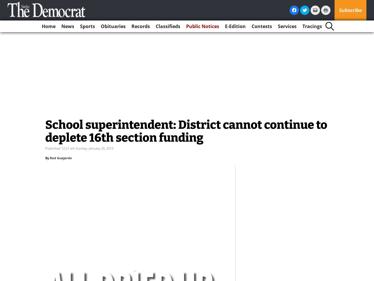 School superintendent: District cannot continue to deplete 16th section funding
