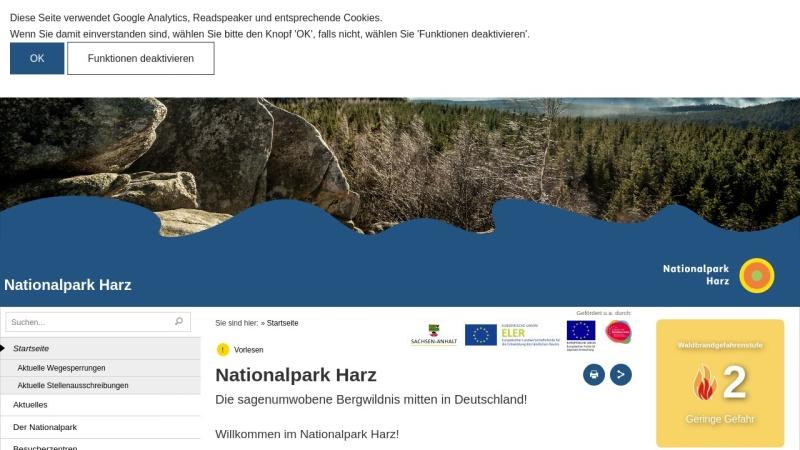 www.nationalpark-harz.de Vorschau, Nationalpark Harz
