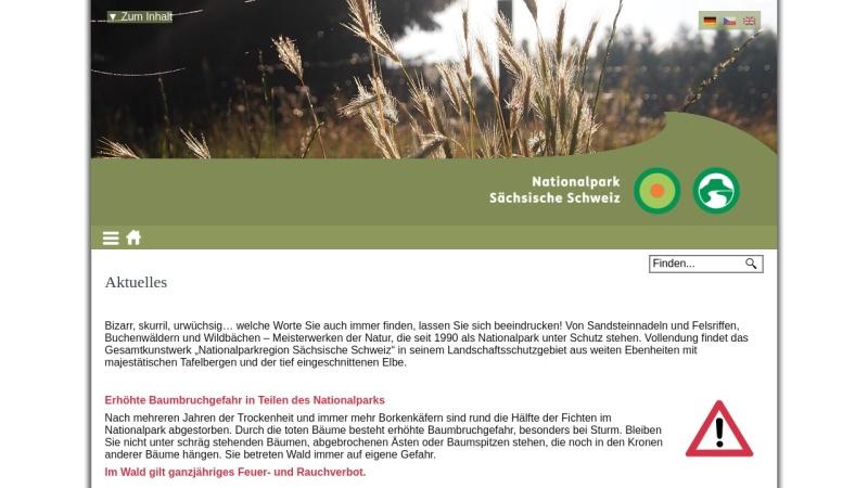 www.nationalpark-saechsische-schweiz.de Vorschau, Nationalpark Sächsische Schweiz
