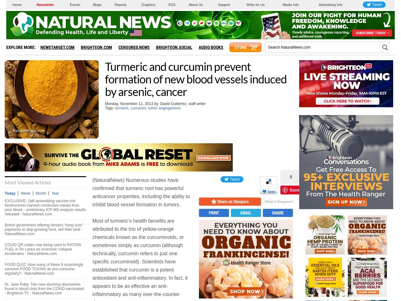 Turmeric and curcumin prevent formation of new blood …