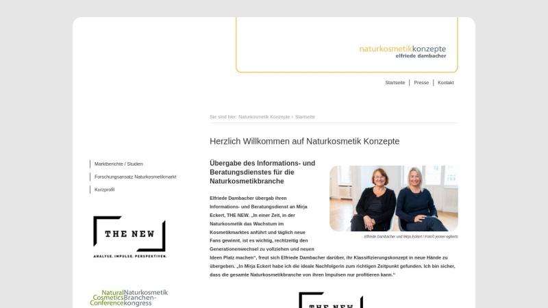 www.naturkosmetik-konzepte.de Vorschau, Naturkosmetik Konzepte, Elfriede Dambacher