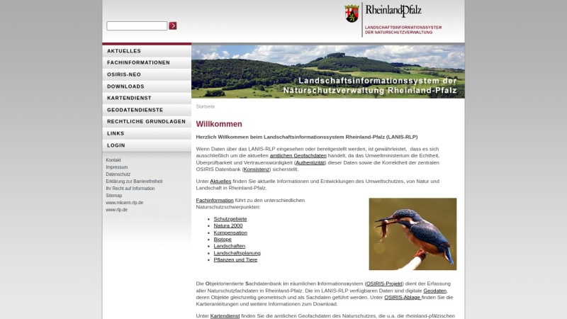 www.naturschutz.rlp.de Vorschau, Landschaftsinformationssystem der Naturschutzverwaltung Rheinland-Pfalz