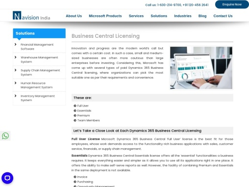 Dynamics 365 Business Central Pricing and Licensing | Navision india