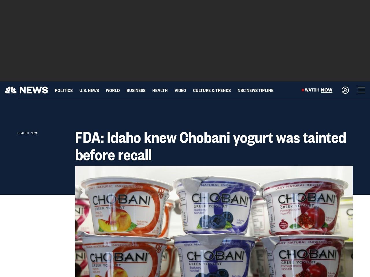 FDA: Idaho knew Chobani yogurt was tainted before recall