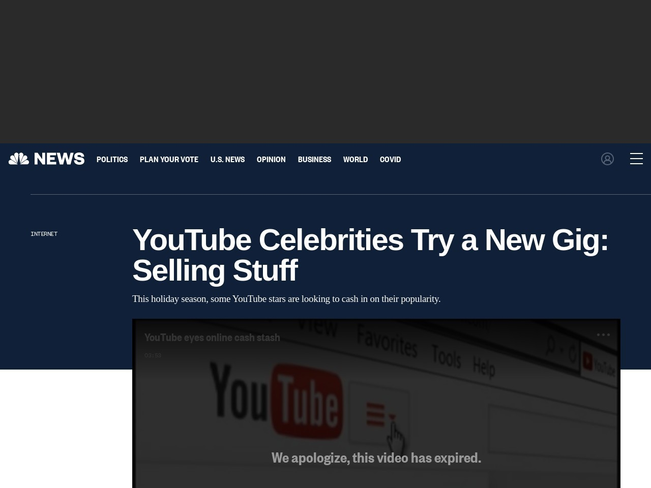 YouTube Celebrities Try a New Gig: Selling Stuff – NBC News