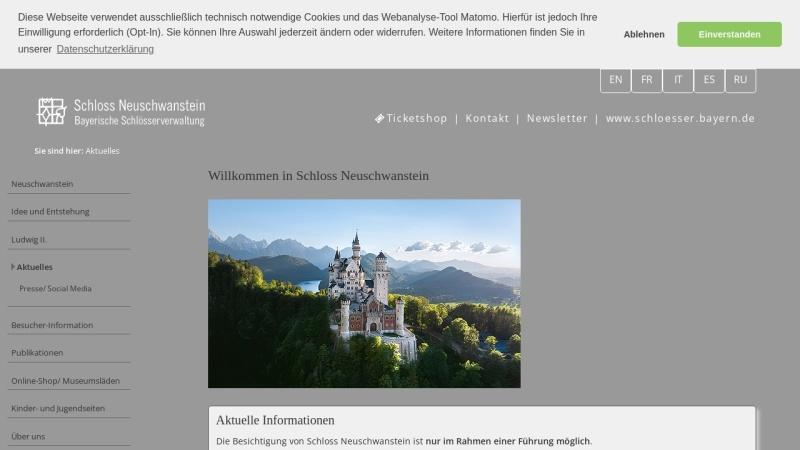 www.neuschwanstein.de Vorschau, Schloss Neuschwanstein