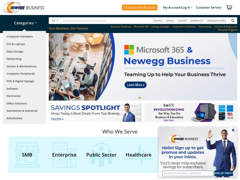 Newegg Business screenshot