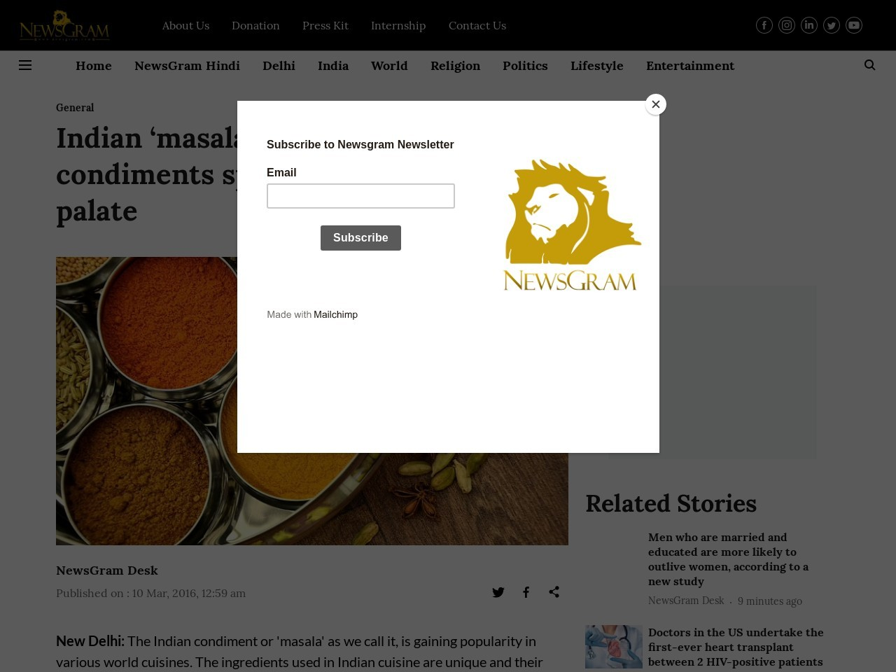 Indian 'masala', among other condiments spicing up global food palate