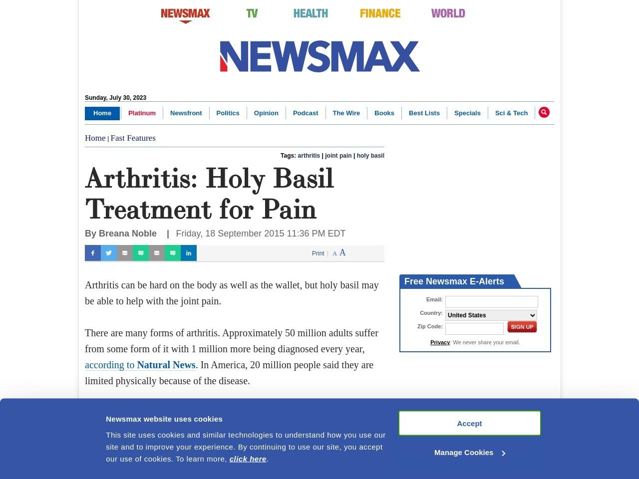 Arthritis: Holy Basil Treatment for Pain