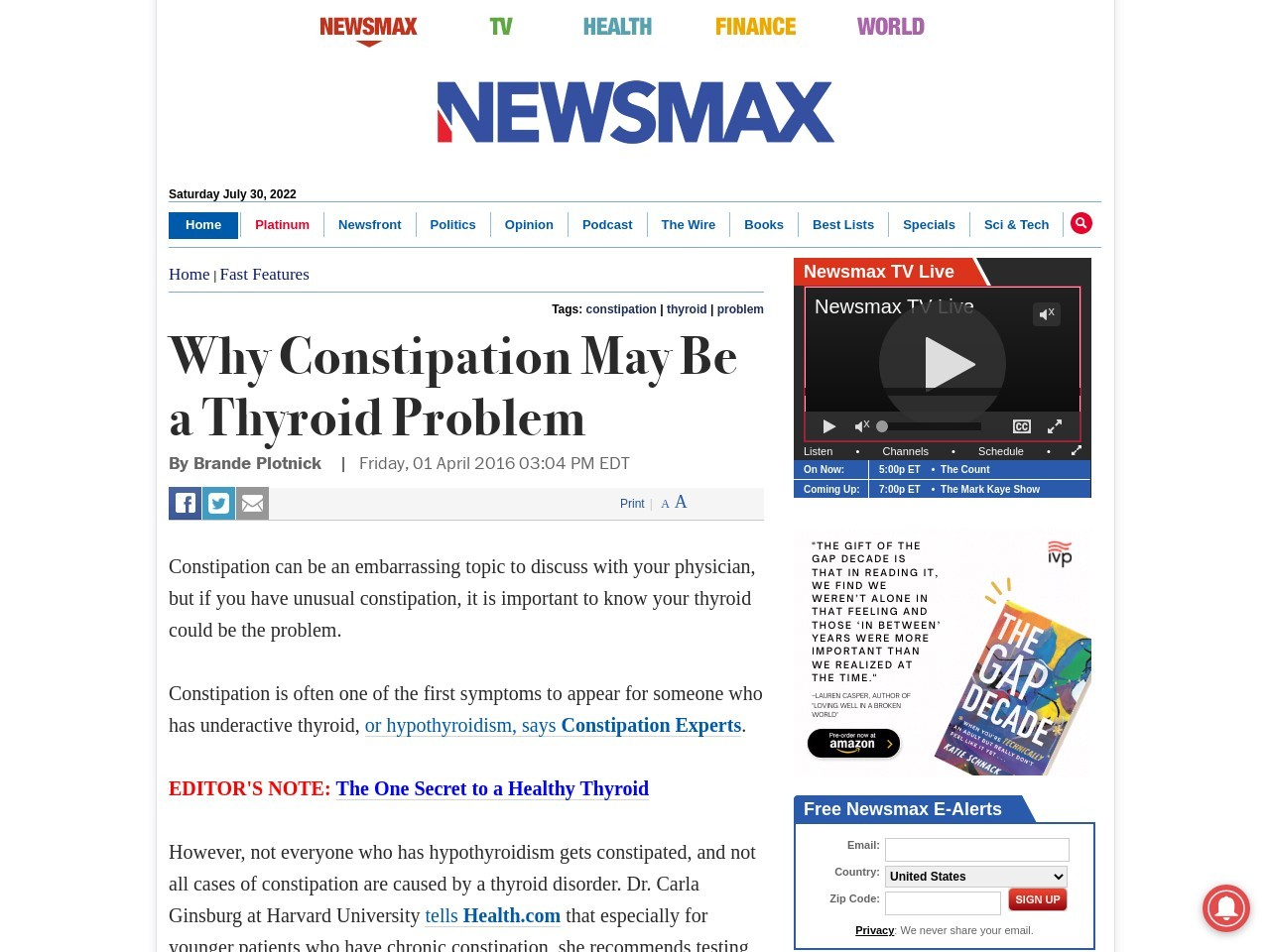 Why Constipation May Be a Thyroid Problem