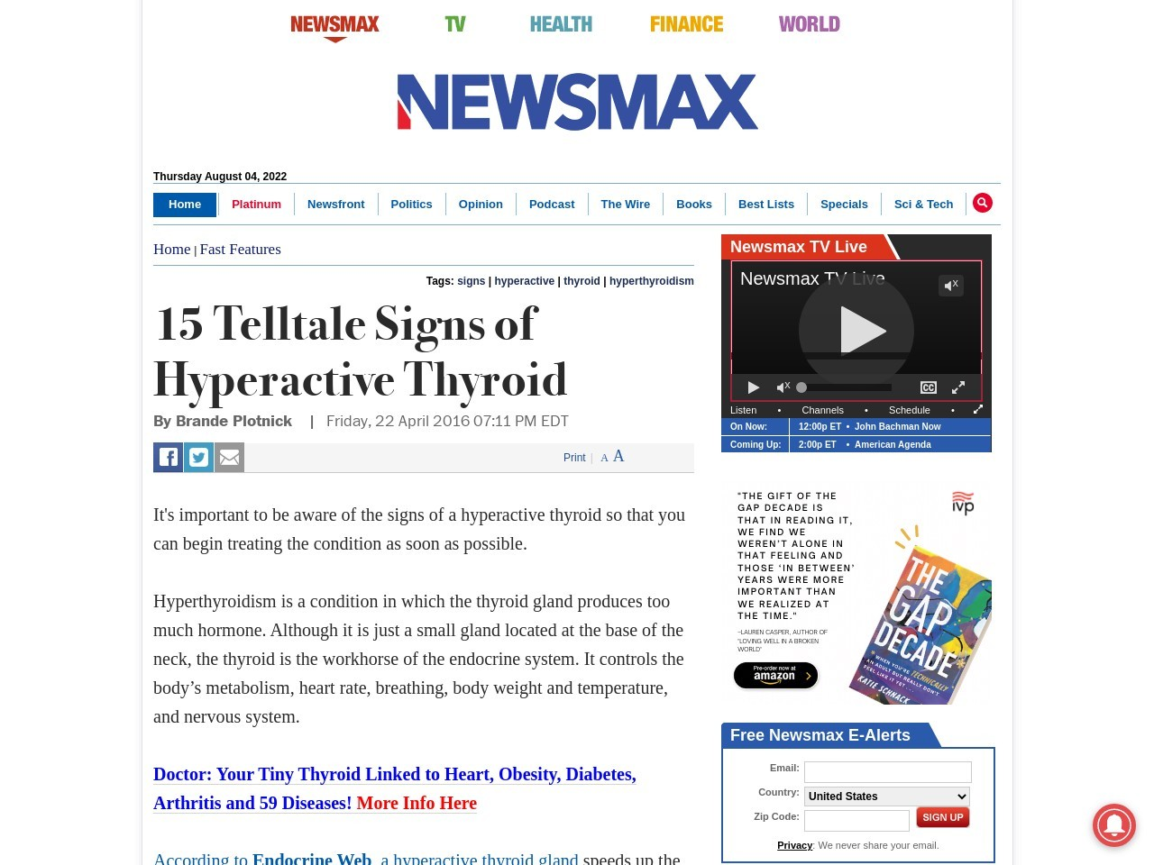 15 Telltale Signs of Hyperactive Thyroid