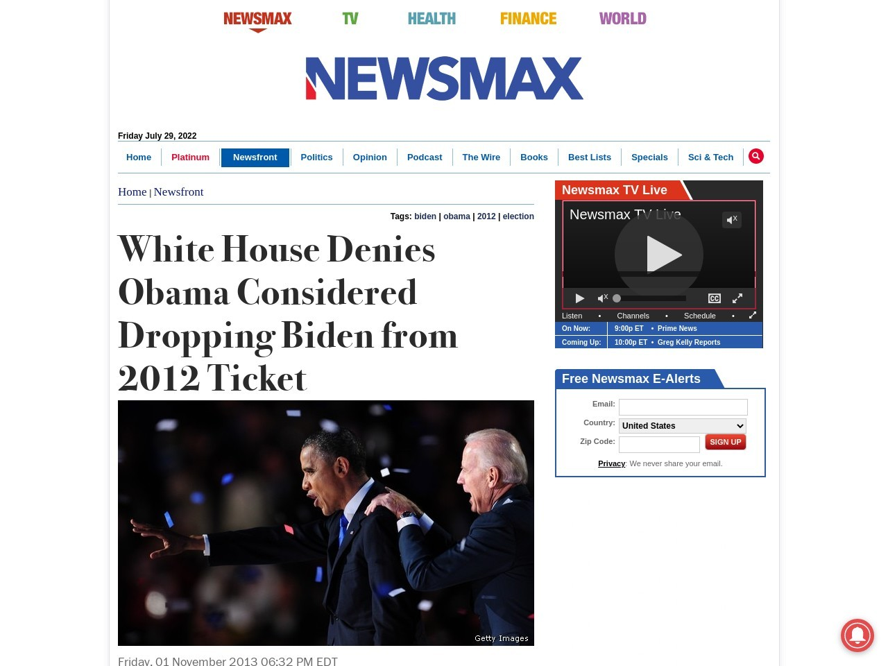 White House Denies Obama Considered Dropping Biden from 2012 Ticket