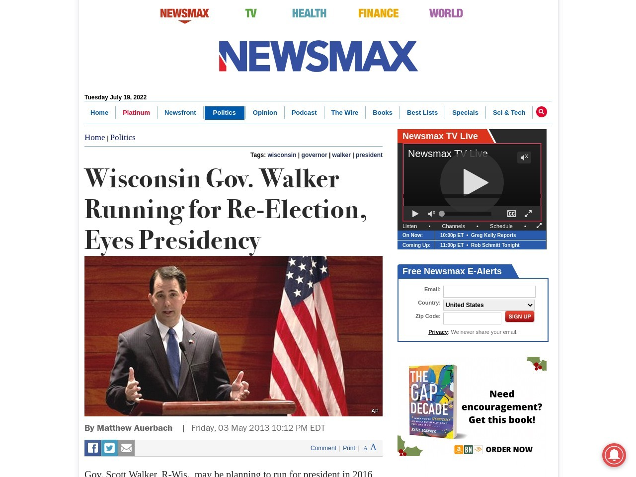 Wisconsin Gov. Walker Running for Re-Election, Eyes Presidency