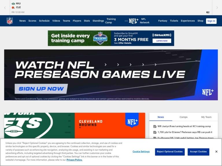 National Football League NFL.com screenshot