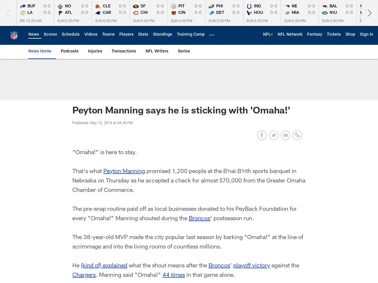 Peyton Manning says he is sticking with 'Omaha!'