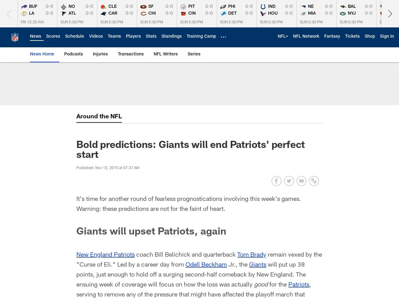 Bold predictions: Giants will end Patriots' perfect start