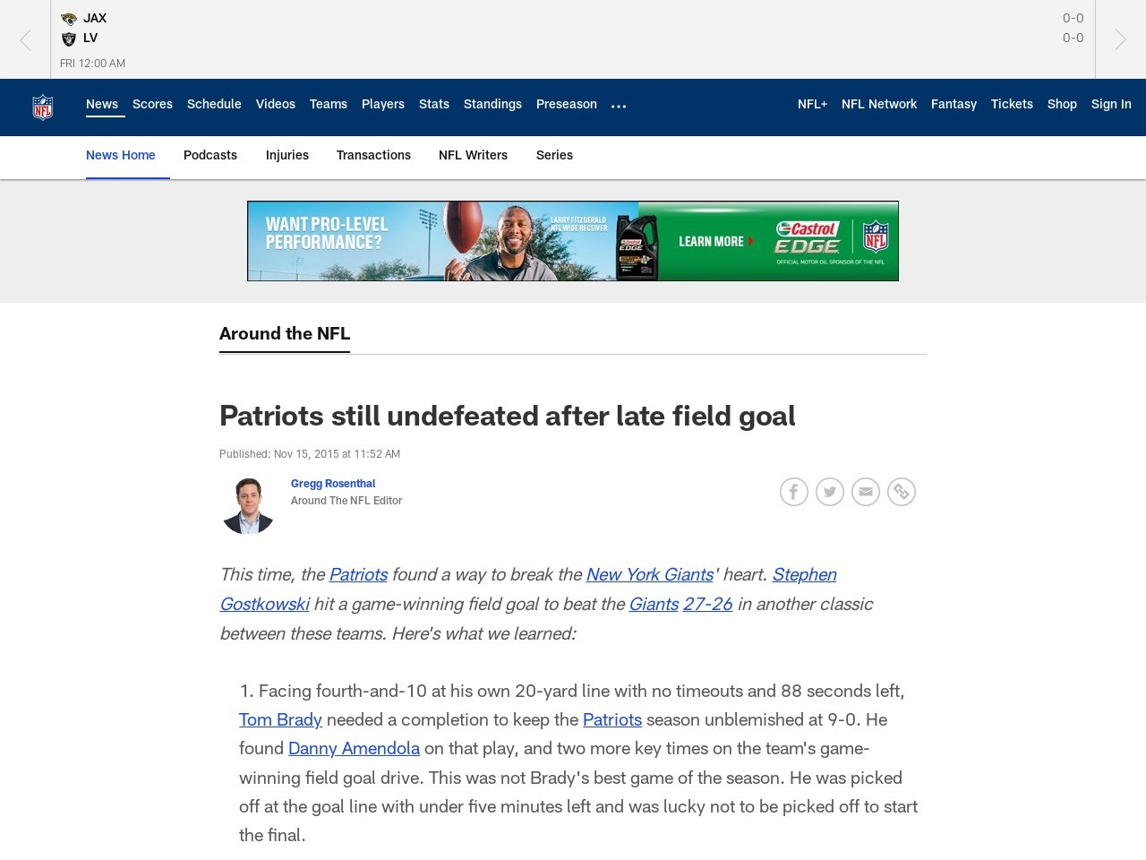 Patriots still undefeated after late field goal
