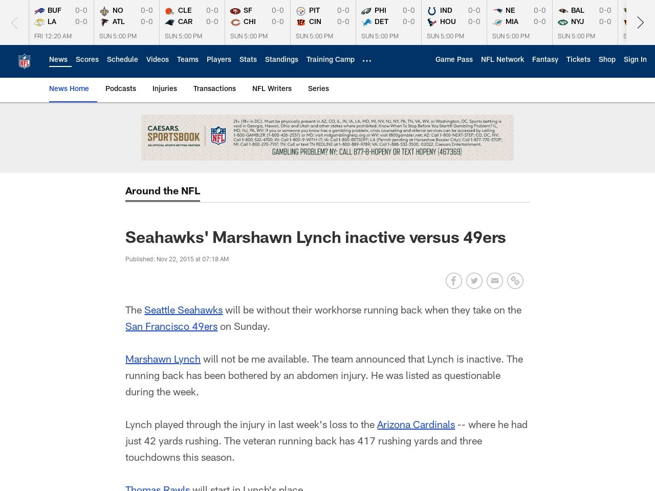 Seahawks' Marshawn Lynch inactive versus 49ers