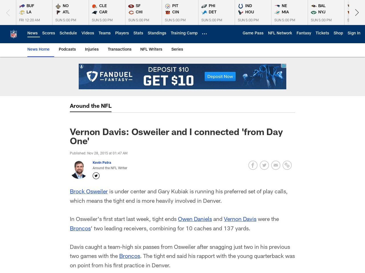 Vernon Davis: Osweiler and I connected 'from Day One'