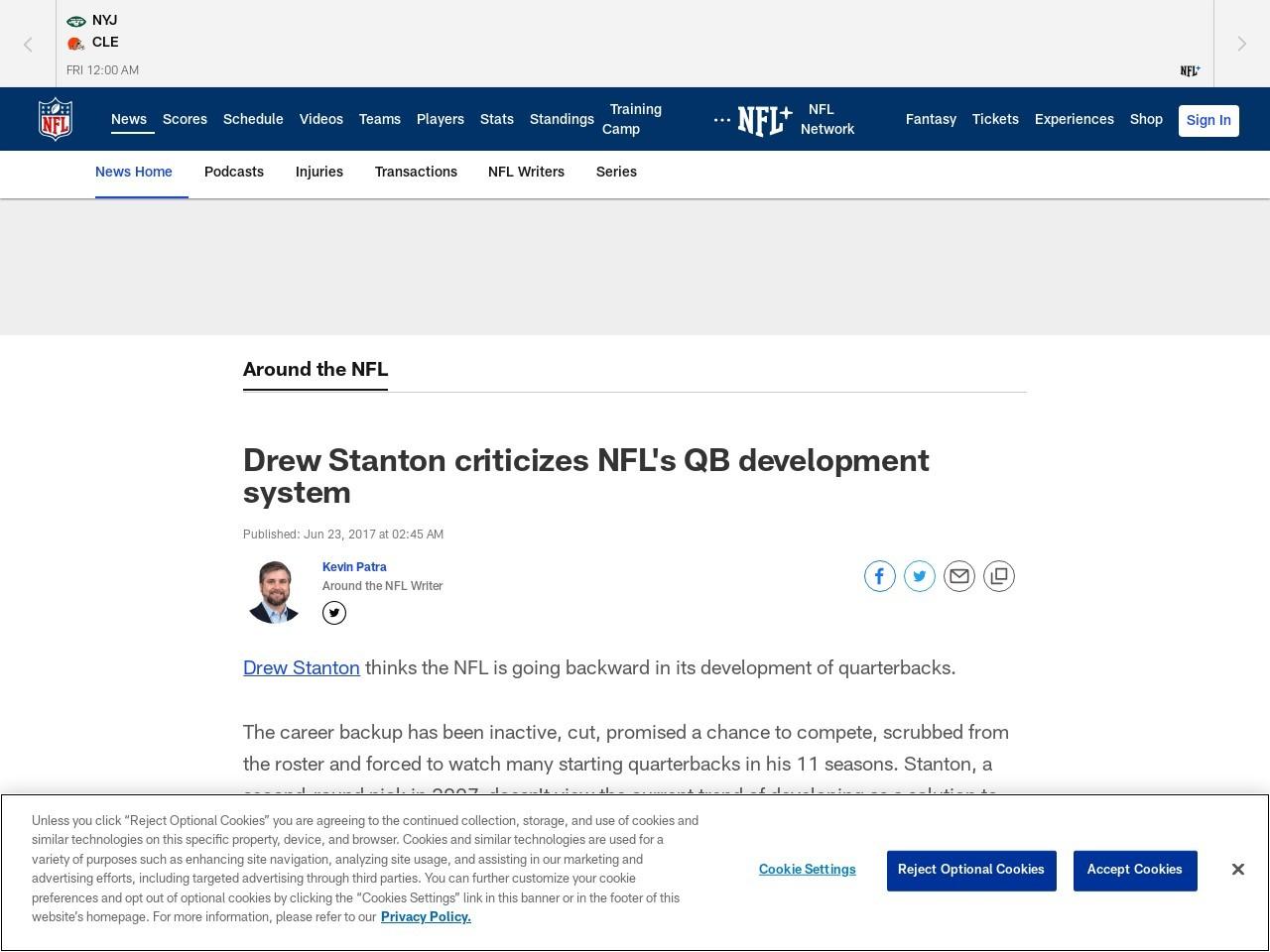 Drew Stanton criticizes NFL's QB development system