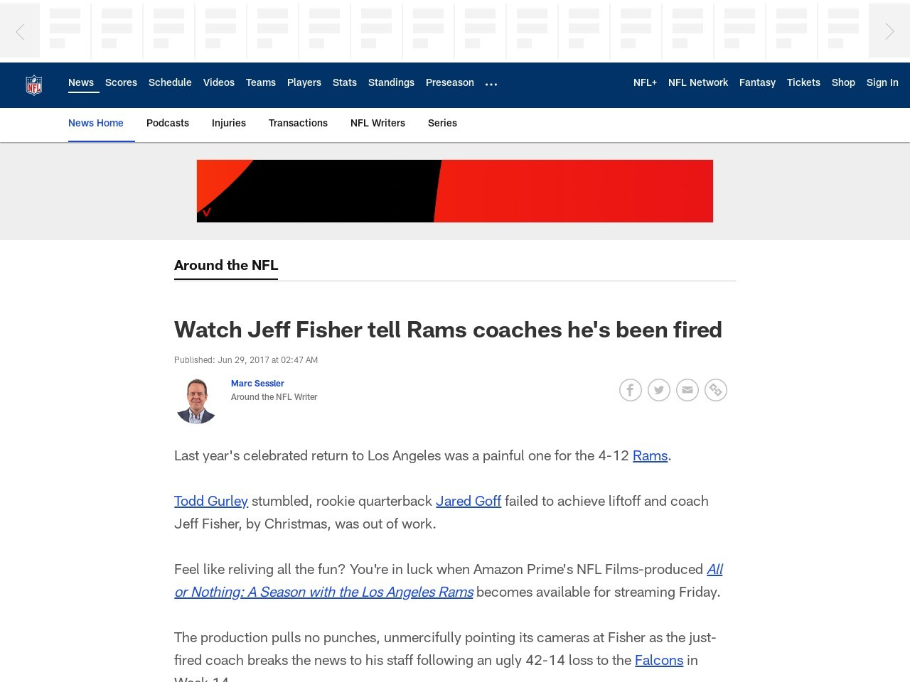Watch Jeff Fisher tell Rams coaches he's been fired
