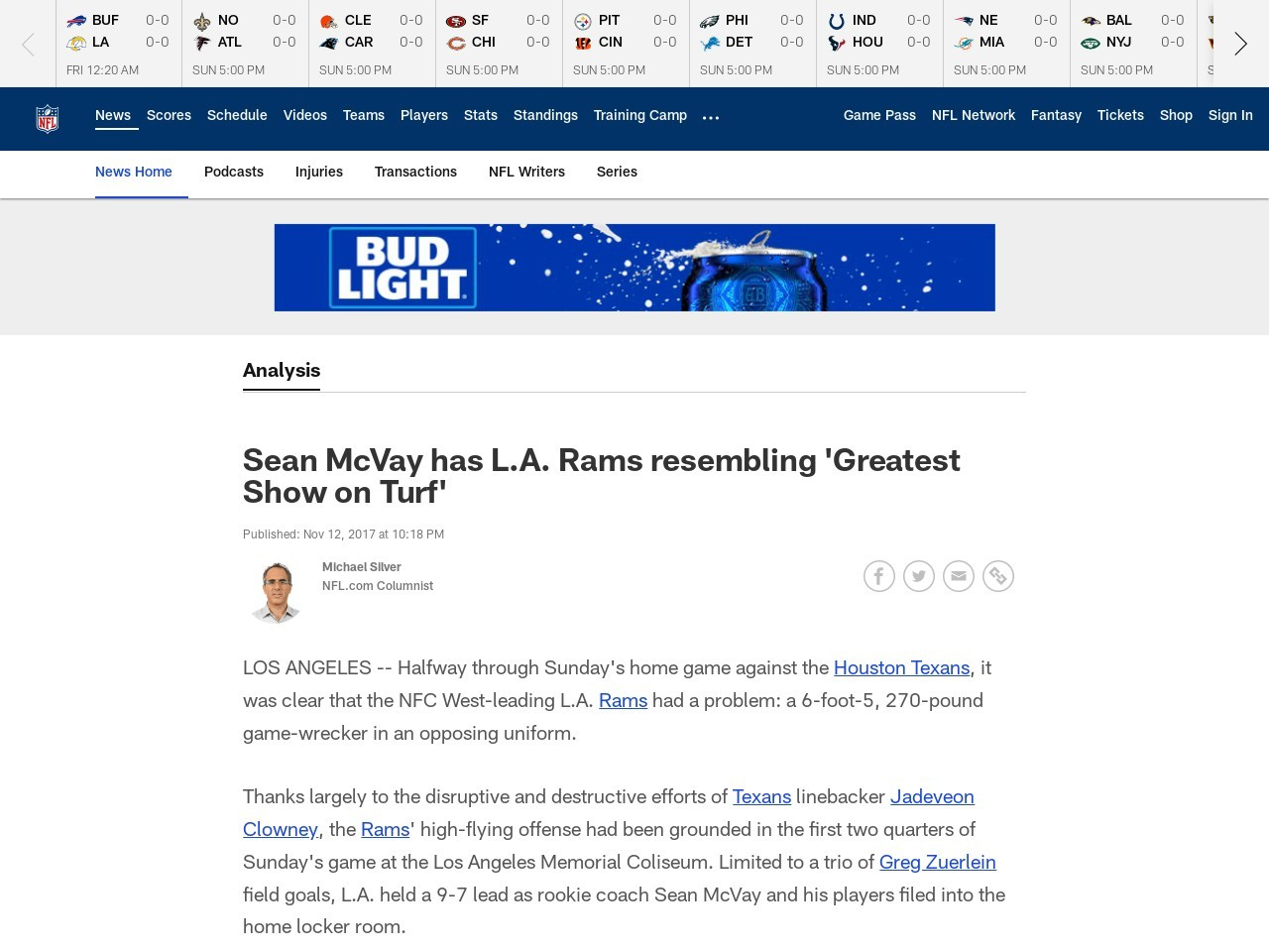 Sean McVay has L.A. Rams resembling 'Greatest Show on Turf'