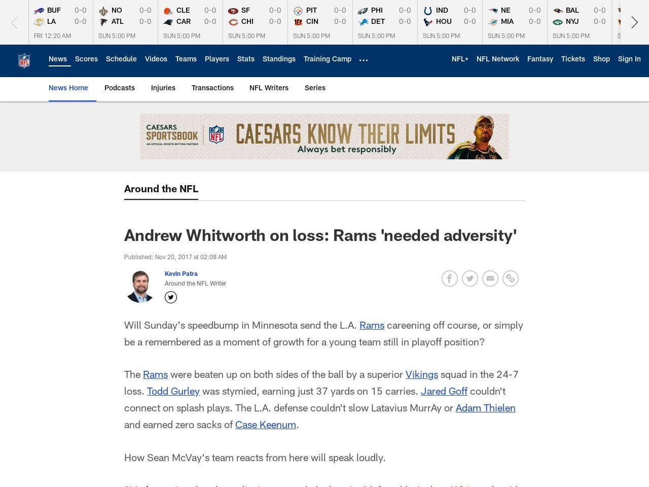 Andrew Whitworth on loss: Rams 'needed adversity'