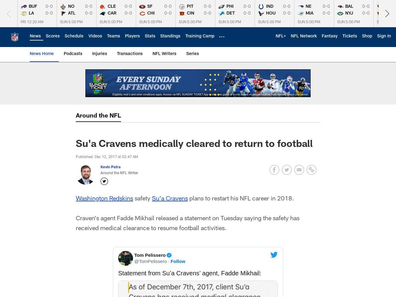 Su'a Cravens medically cleared to return to football