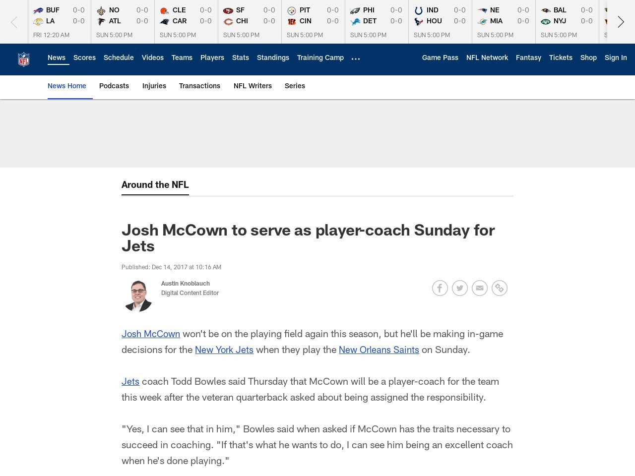 Josh McCown to serve as player-coach Sunday for Jets