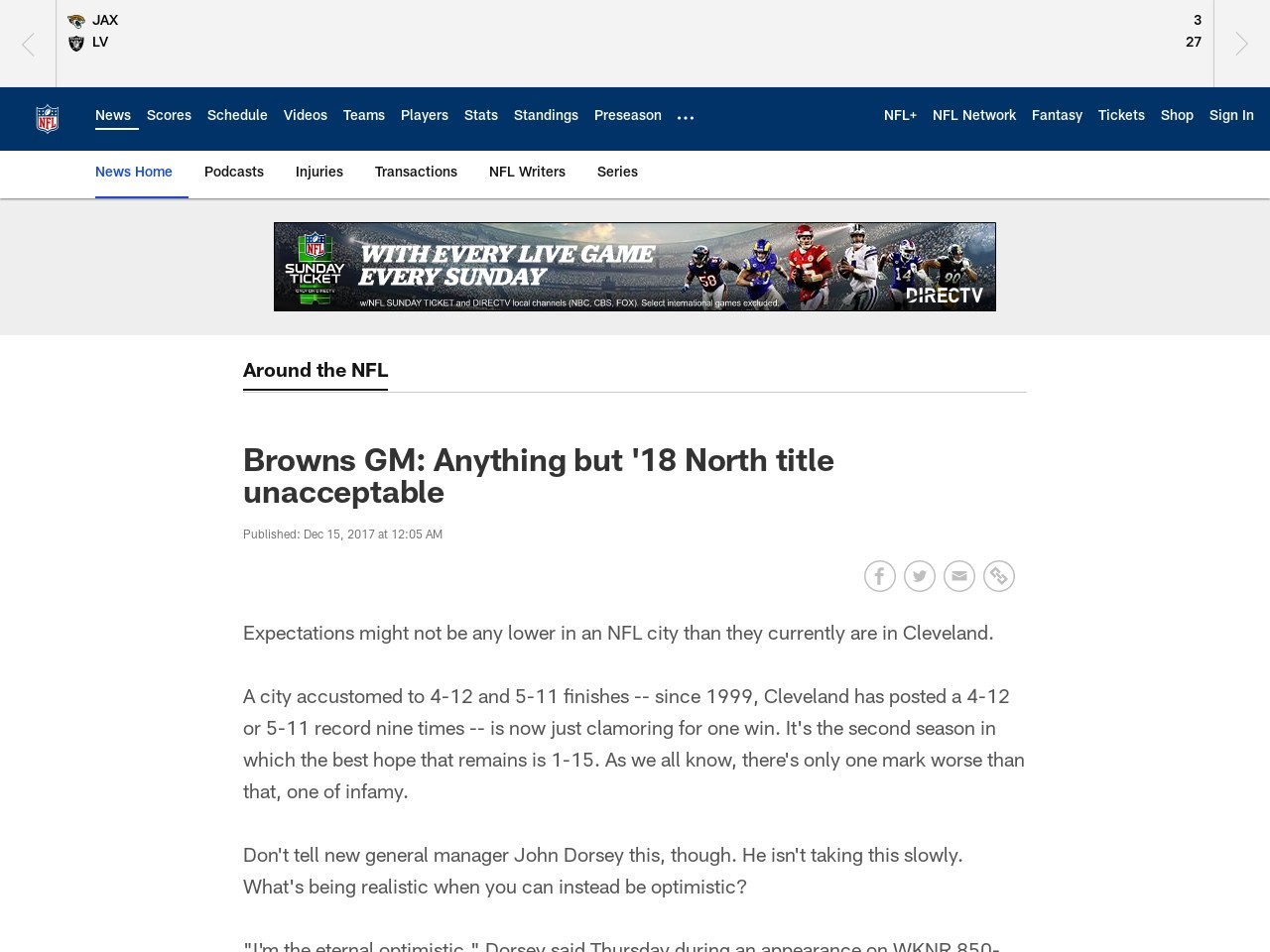 Browns GM: Anything but '18 North title unacceptable