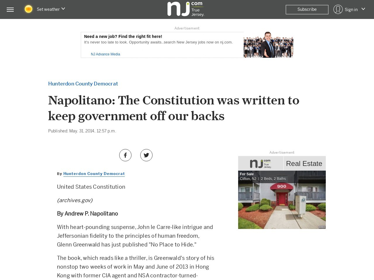 Napolitano: The Constitution was written to keep government off our backs