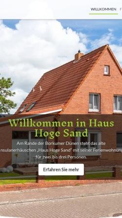 Vorschau der mobilen Webseite www.nockel-borkum.de, Ferienwohnung Haus Hoge Sand