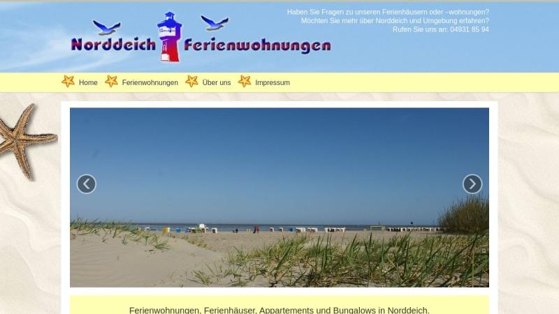 www.norddeich-fewo.de Vorschau, Ferienhäuser und Ferienwohnungen, WMM Werbeagentur