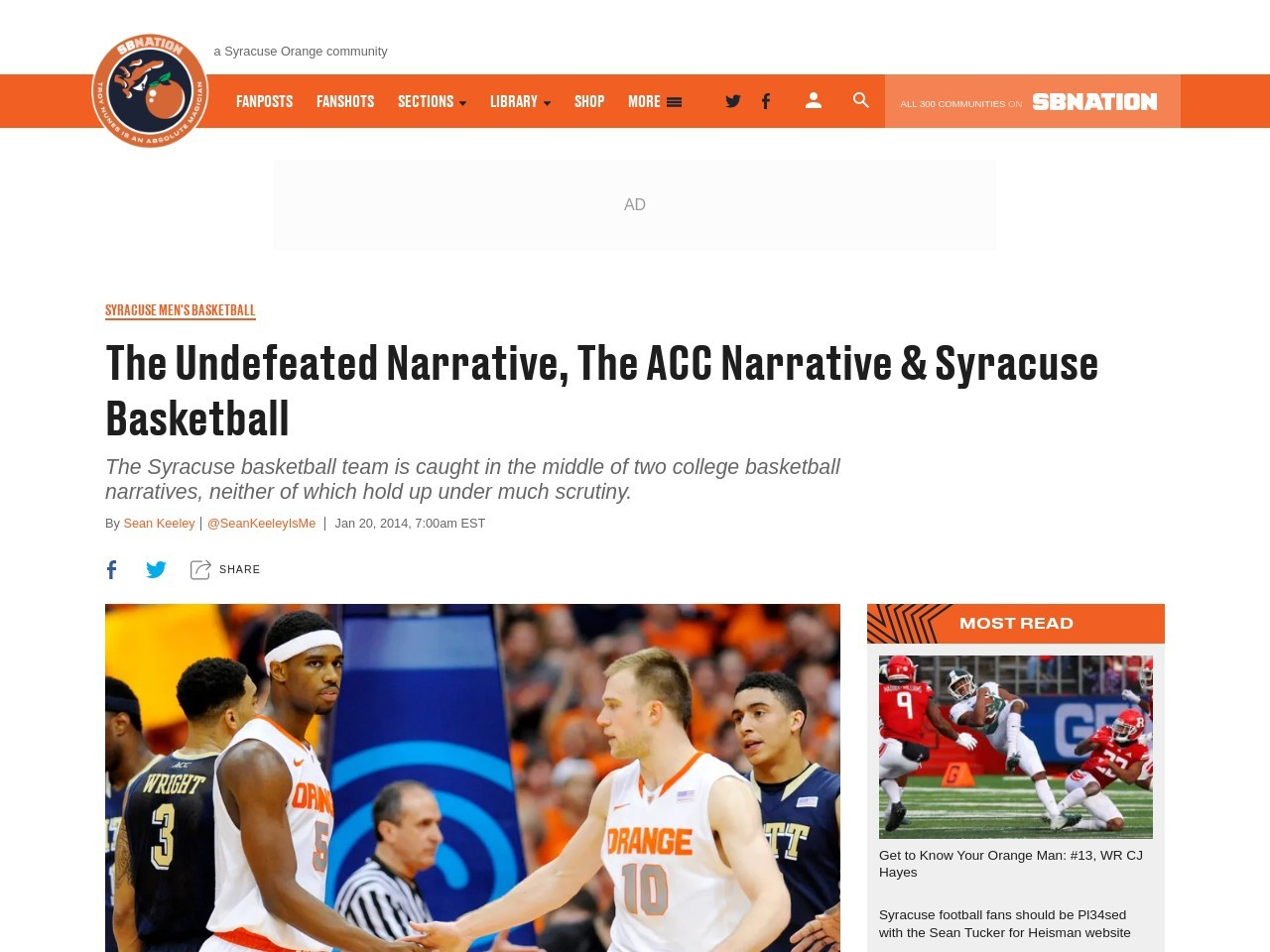 The Undefeated Narrative, The ACC Narrative & Syracuse Basketball