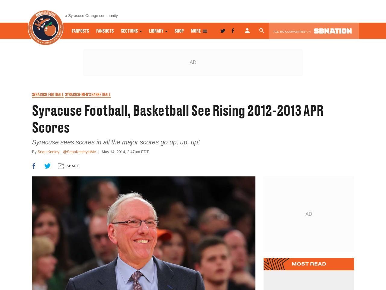 Syracuse Football, Basketball See Rising 2012-2013 APR …