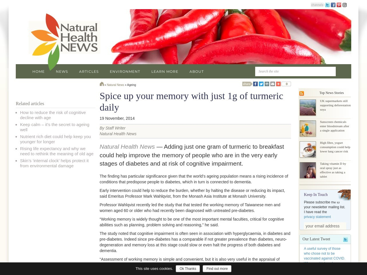 Spice up your memory with just 1g of turmeric daily