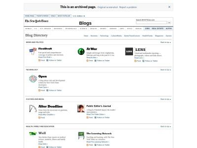 NY Times Blog Index