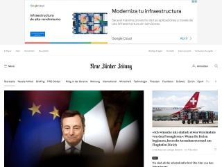 Screenshot der Website nzz.ch