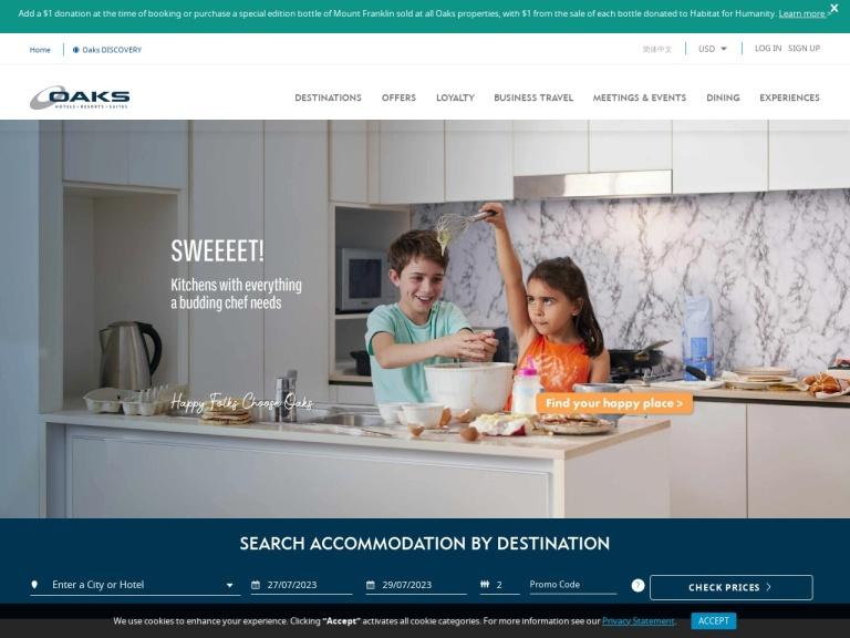 Oaks Hotels and Resorts screenshot