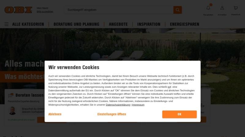 www.obi.de Vorschau, OBI Bau- und Heimwerkermärkte GmbH & Co. Franchise Center KG