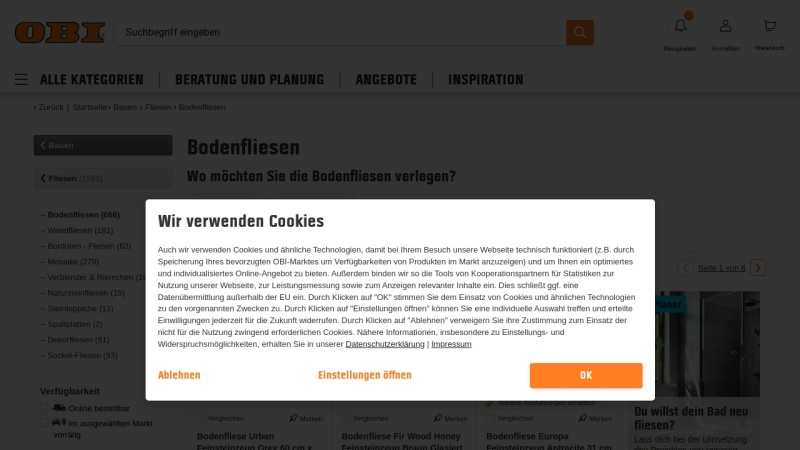 www.obi.de Vorschau, Bodenfliesen