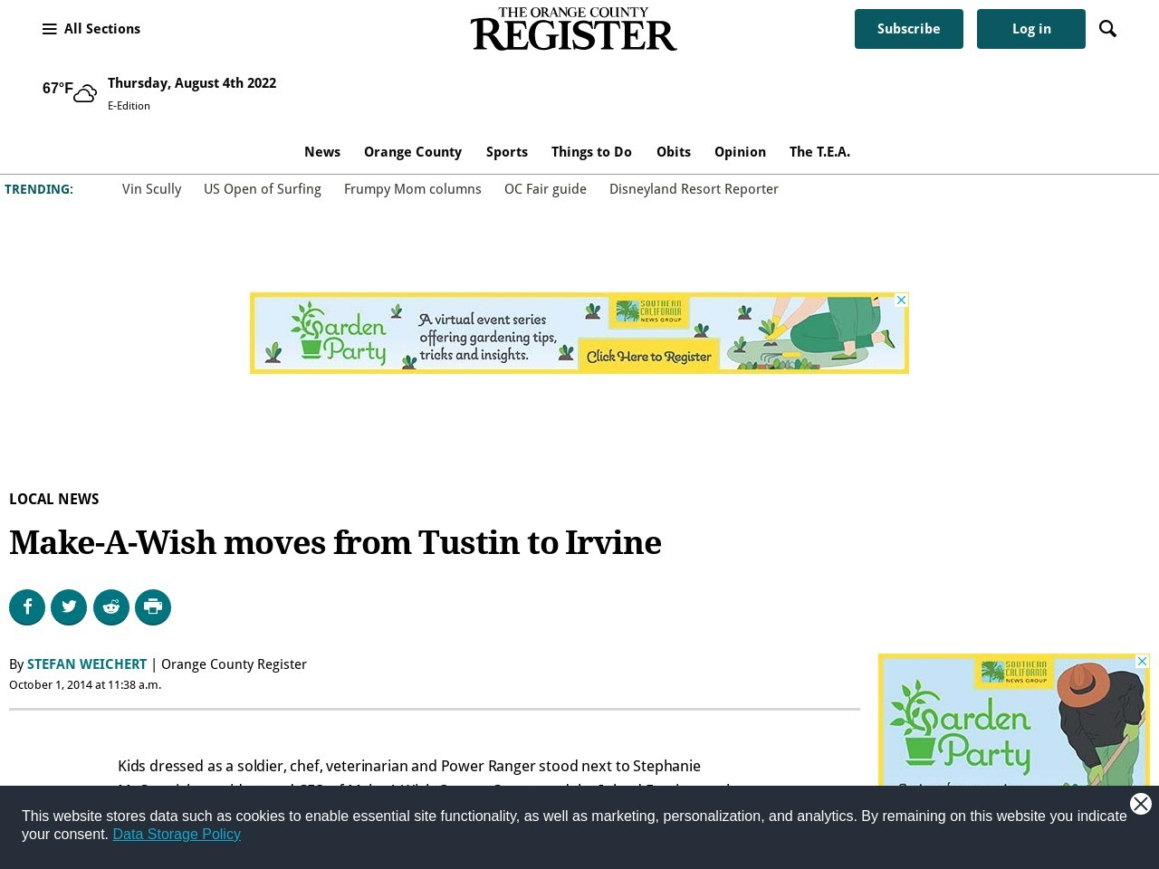 Make-A-Wish moves from Tustin to Irvine