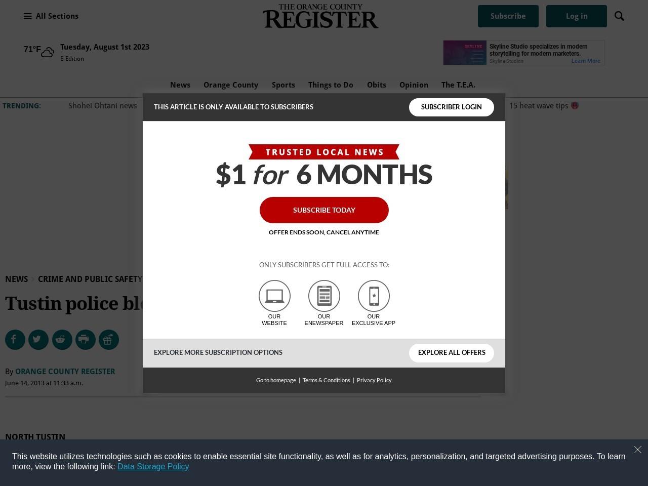 Tustin police blotter, May 25 to 31
