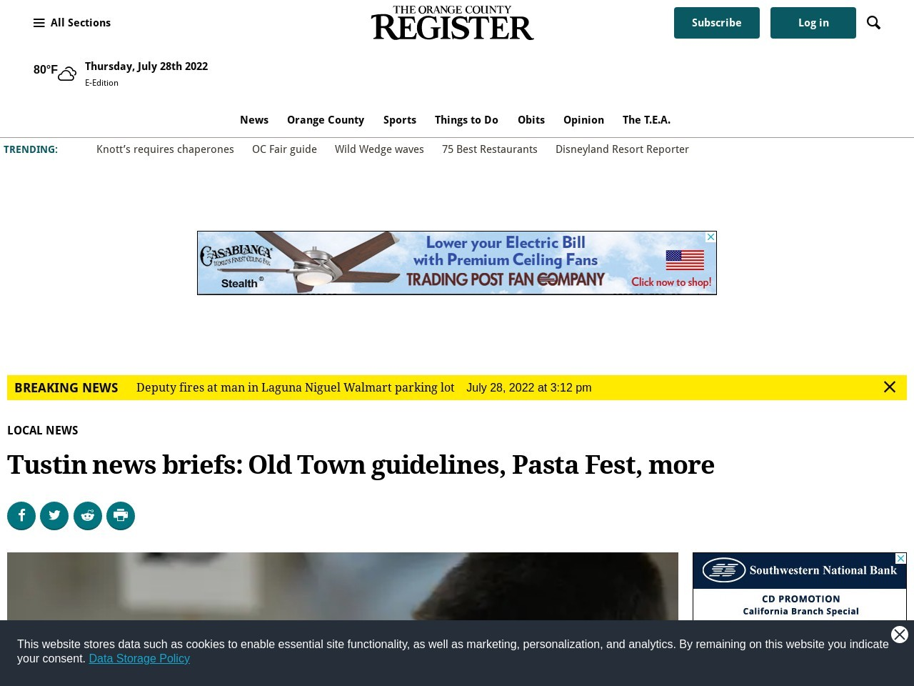 Tustin news briefs: Old Town guidelines, Pasta Fest, more