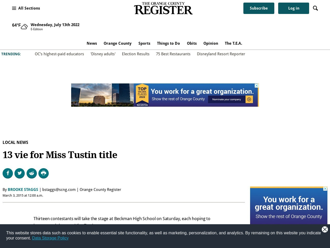 13 vie for Miss Tustin title