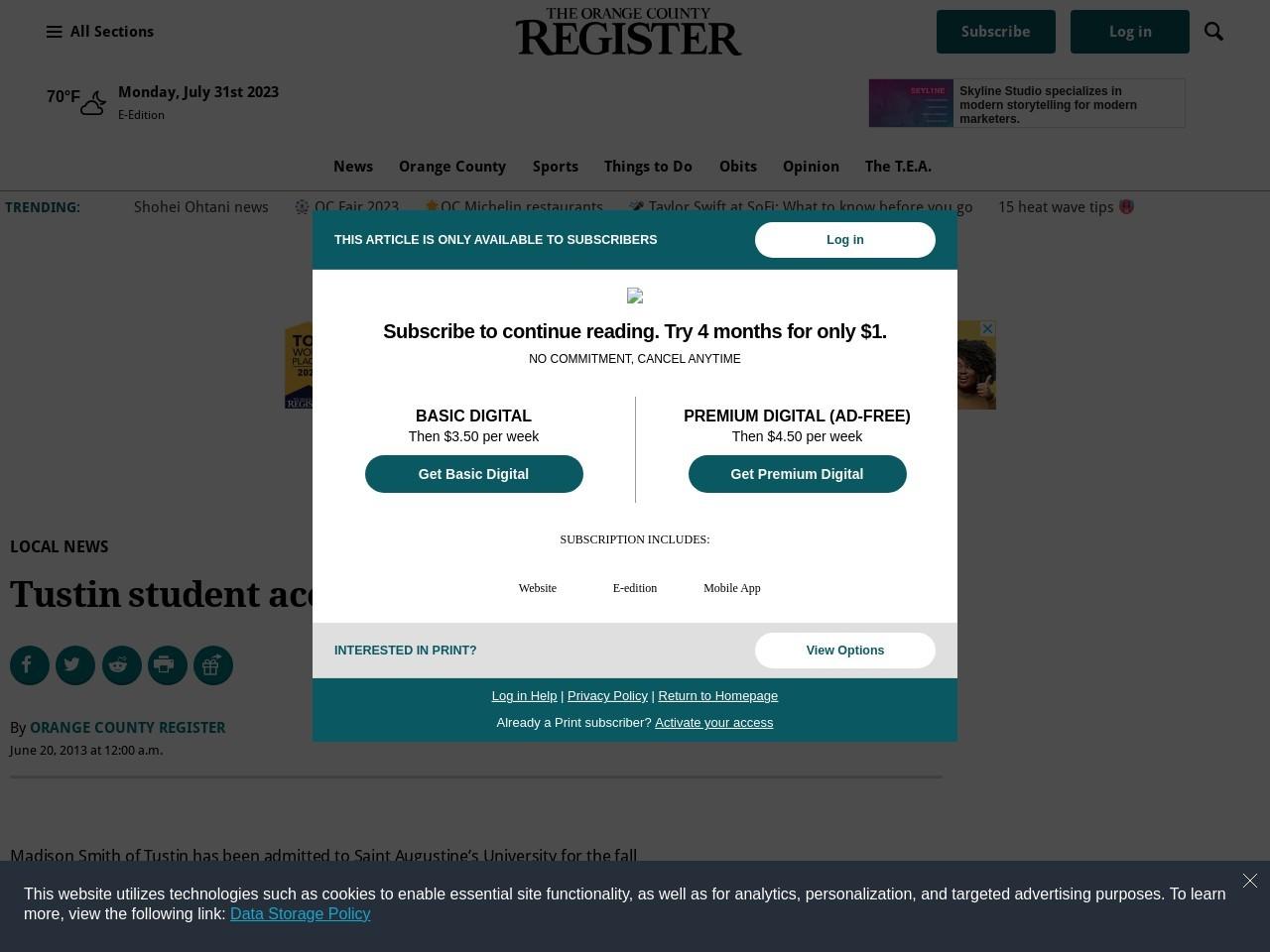 Tustin student accepted to North Carolina university