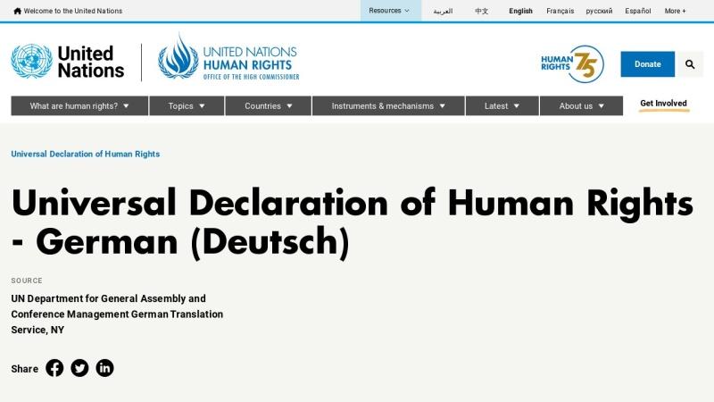 www.ohchr.org Vorschau, Allgemeine Erklärung der Menschenrechte